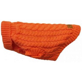 canine-co-cableknit-jumper-orange